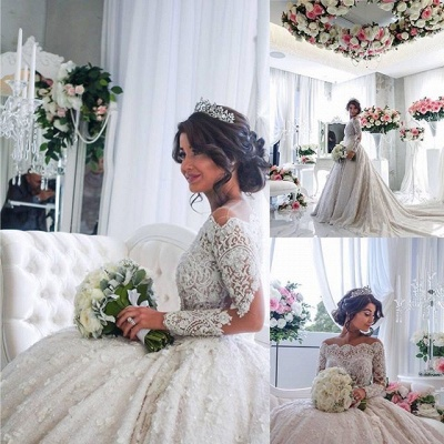 Vintage Ball Gown  Lace Wedding Gowns Beaded Appliques Long Sleeves Lace Bride Dresses BA3212_5