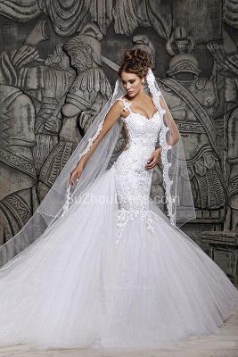 Sexy  Wedding Gowns Beading Appliques Spaghetti Straps Court Train Mermaid Wedding Dresses_4