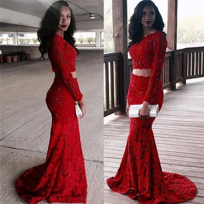 Two Piece Lace Sexy Prom Dresses  | Red Long Sleeve Beads Sequins Evening Gown_3