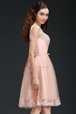 Short Sleeveless Tulle Bowknot Elegant Lace Homecoming Dress_3