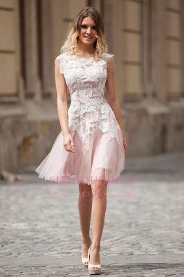Sleeveless Tulle A-Line Elegant Appliques Short Homecoming Dresses_3
