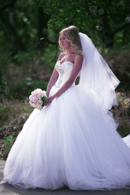 Crystal Sweetheart White Ball Gown Wedding Dresses High Quality Custom Court Train Tulle Bridal Gowns_3