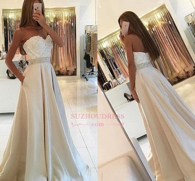 A-line Sweetheart Lace Ivory Prom Dresses  Beading Belt Evening Dress BA4858_1