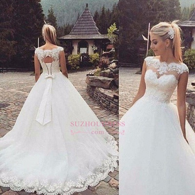 Lace Appliques Cap Sleeves Sleeveless Wedding Dresses  Lace Up Bowknot Bridal Gowns BA3624_1