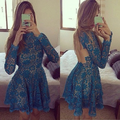 New Arrival Long Sleeve Lace Party Gowns Sexy Open Back  Homecoming Dresses_1