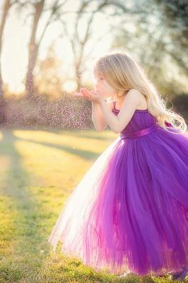Cute Strapless Purple Long Flower Girl Dresses  Popular Floor Length Tulle Girl Dress_1