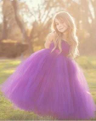 Cute Strapless Purple Long Flower Girl Dresses  Popular Floor Length Tulle Girl Dress_2