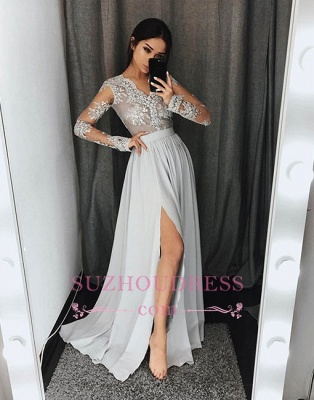 Gray Split-front Lace Long-sleeve A-line Stylish Evening Dress_1