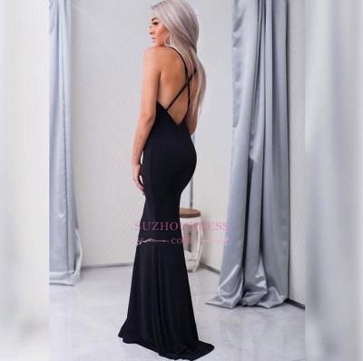 Sleeveless Spaghetti-Strap  Formal Ball Dress Sexy Cross-Back Mermaid Black Prom Dress_3