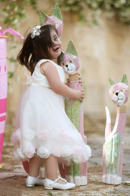 Latest White Flowers Tea Length Flower Girl Dress Cute Tulle Bowknot Short Girl Dresses_2