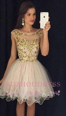 Gold Bateau Sleeveless Organza Puffy Mini Homecoming Dresses_2