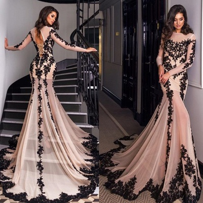 Long Sleeve Black Lace Applique Evening Dresses Sexy Mermaid Tulle Formal Dress_3