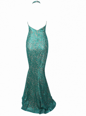 Shiny Turquoise Sequinned Beads Prom Dress  | Long Sleeve Mermaid Sexy Evening Dress_4