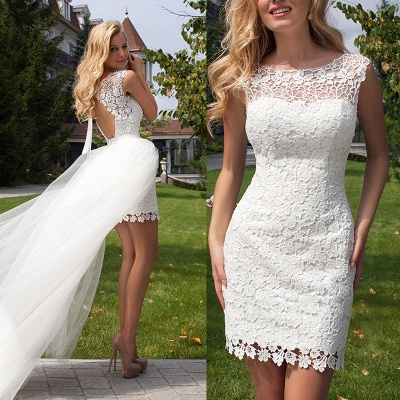 Cute Halter Short Lace Bridal Dresses with Detachable Tulle Open Back Wedding Dress_4