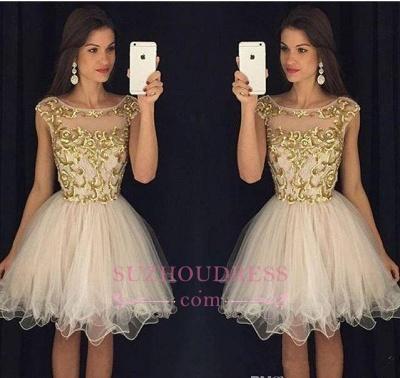 Gold Bateau Sleeveless Organza Puffy Mini Homecoming Dresses_1