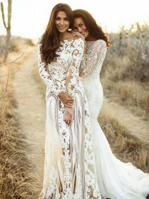 Affordable Column Bateau Lace Wedding Dresses Long-Sleeves Open Back Bridal Gowns On Sale_1