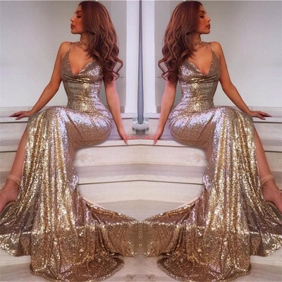 Spaghetti Straps V-neck Champagne Gold Sequins Formal Evening Dress  Sexy Prom Dress  BA7769_3