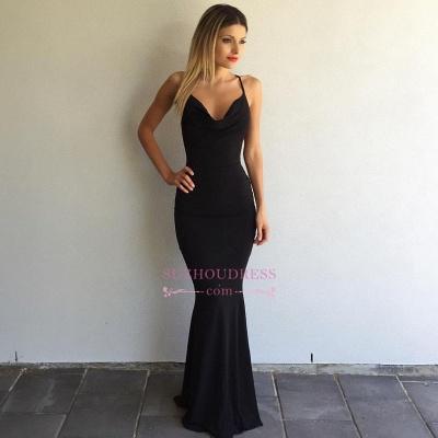 Sleeveless Spaghetti-Strap  Formal Ball Dress Sexy Cross-Back Mermaid Black Prom Dress_1