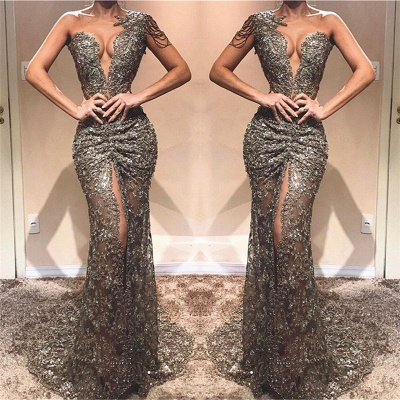 Sexy One Shoulder Front Slit  Prom Dresses   See Through Beads Appliques  Evening Gowns_3