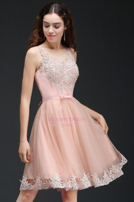 Short Sleeveless Tulle Bowknot Elegant Lace Homecoming Dress_5