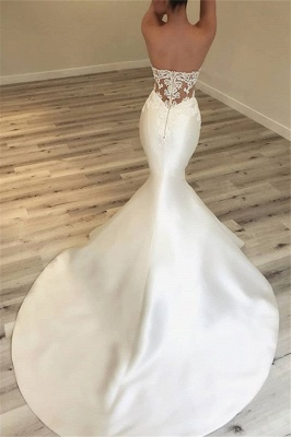 Glamorous Mermaid Open Back Wedding Dresses Strapless Appliques Bridal Gowns Online_3