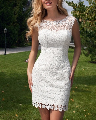 Cute Halter Short Lace Bridal Dresses with Detachable Tulle Open Back Wedding Dress_3