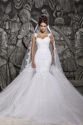 Sexy  Wedding Gowns Beading Appliques Spaghetti Straps Court Train Mermaid Wedding Dresses_1