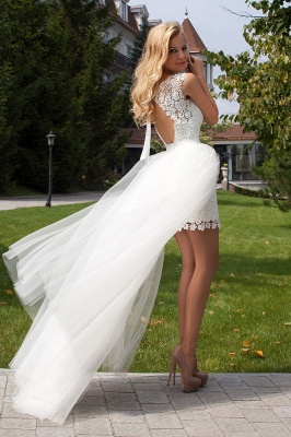 Cute Halter Short Lace Bridal Dresses with Detachable Tulle Open Back Wedding Dress_1