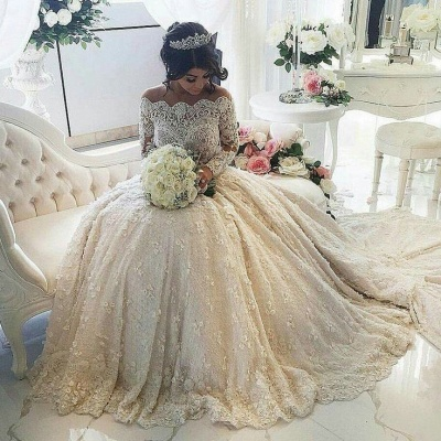 Vintage Ball Gown  Lace Wedding Gowns Beaded Appliques Long Sleeves Lace Bride Dresses BA3212_1