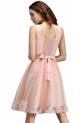 Short Sleeveless Tulle Bowknot Elegant Lace Homecoming Dress_4