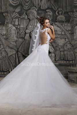 Sexy  Wedding Gowns Beading Appliques Spaghetti Straps Court Train Mermaid Wedding Dresses_3