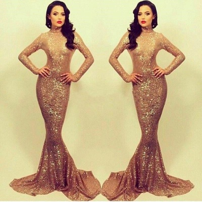 High Neck Sequins Long Sleeve Evening Dresses Fishtail  Sexy Prom Dresses FB0166_3