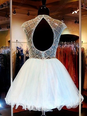 A-Line Short Beading Homecoming Dresses Tulle Open Back  Cocktail Gowns_3