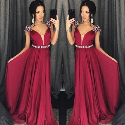 Cap Sleeves Crystals Burgundy Evening Dresses  Chiffon V-neck Sexy Prom Dress with Belt_3