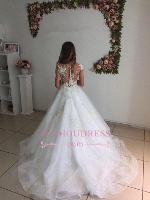 Lace A-Line Tulle Appliques  Bride Dress Beach Court-Train White Wedding Dresses_3