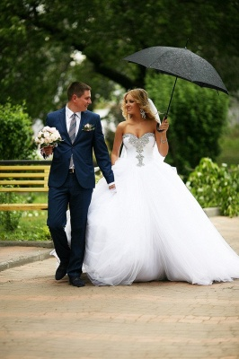 Crystal Sweetheart White Ball Gown Wedding Dresses High Quality Custom Court Train Tulle Bridal Gowns_2