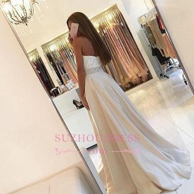 A-line Sweetheart Lace Ivory Prom Dresses  Beading Belt Evening Dress BA4858_4