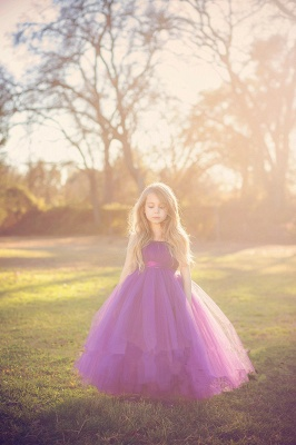 Cute Strapless Purple Long Flower Girl Dresses  Popular Floor Length Tulle Girl Dress_3
