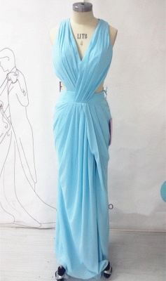 Chiffon Long Ruffle V-neck Blue Evening Dress Sexy Chiffon  Open Back Summer Beach Prom Dress_1