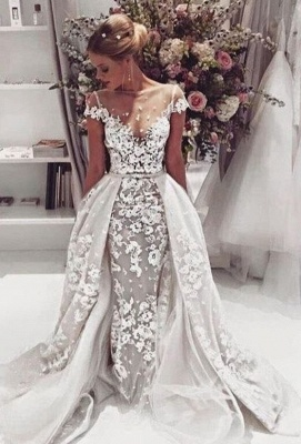 Popular  Overskirt Open Back Bride Dress Sleeves Illusion Lace Appliques Wedding Dress_2