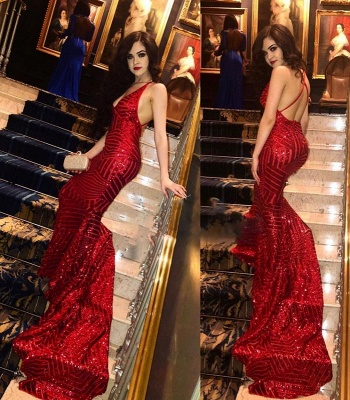Sexy Sequined Red V-Neck Prom Dresses | Backless Mermaid Evening Dresses_3