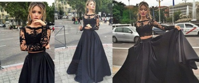 Black Lace Two Piece  Prom Dresses Long Sleeve Evening Gown CE049_3
