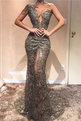 Sexy One Shoulder Front Slit  Prom Dresses   See Through Beads Appliques  Evening Gowns_1