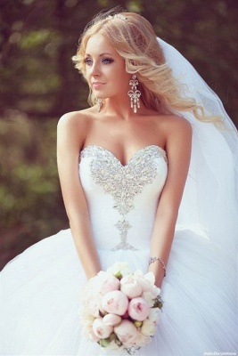 Crystal Sweetheart White Ball Gown Wedding Dresses High Quality Custom Court Train Tulle Bridal Gowns_1