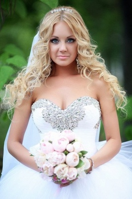 Crystal Sweetheart White Ball Gown Wedding Dresses High Quality Custom Court Train Tulle Bridal Gowns_4
