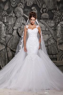 Sexy  Wedding Gowns Beading Appliques Spaghetti Straps Court Train Mermaid Wedding Dresses_5