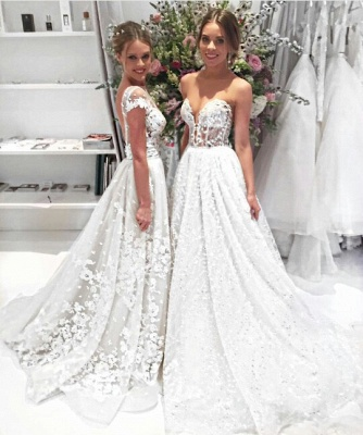 Popular  Overskirt Open Back Bride Dress Sleeves Illusion Lace Appliques Wedding Dress_3