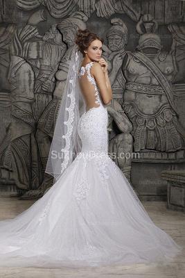 Sexy  Wedding Gowns Beading Appliques Spaghetti Straps Court Train Mermaid Wedding Dresses_2