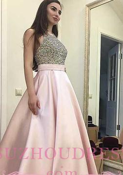 Pink Elegant Round-neck  A-line Sweep-train Sequin Beading Prom Dress BA5289_1