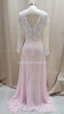 Cute Pink Chiffon Lace Prom Dresses Sheer Long Sleeve  Popular Evening Dresses with Side Slit_2